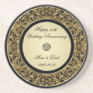 Golden Wedding Anniversary Coaster