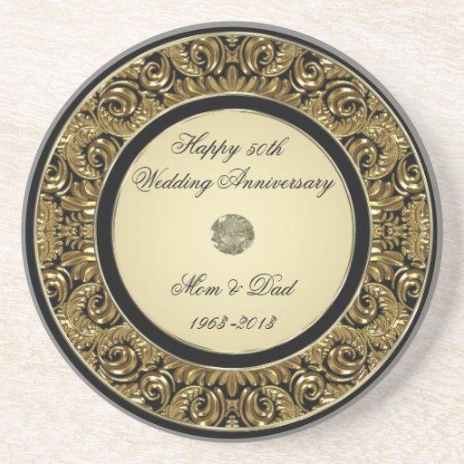 Golden Wedding Anniversary Coaster