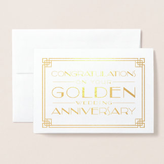 Golden Wedding Anniversary Congratulations Foil Card