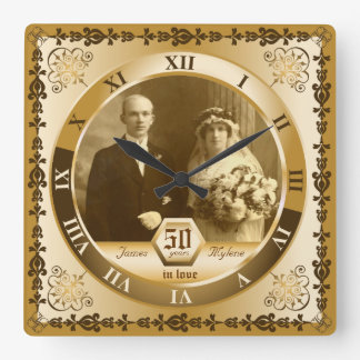 Golden Wedding Anniversary Custom Photo Ornate Square Wall Clock