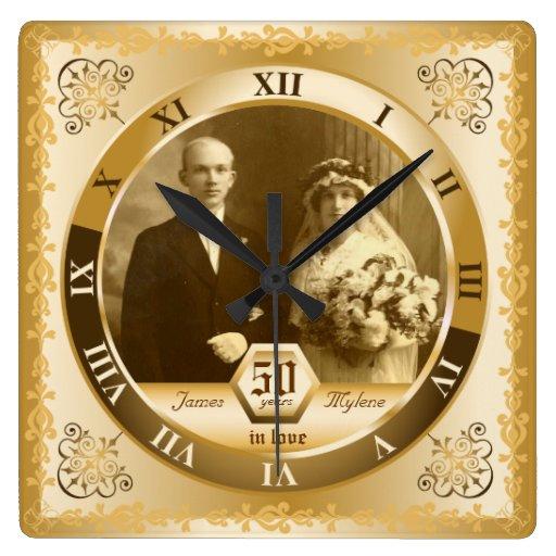 Golden Wedding Anniversary Customisable Photo Gift Wall Clock Zazzle