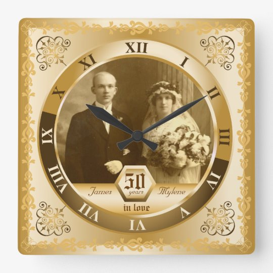 Golden Wedding Anniversary Customisable Photo Gift Square Wall