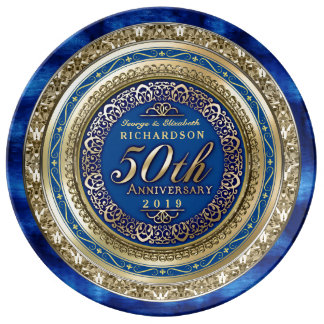 Golden Wedding Anniversary Faux Gold Royal Blue Plate