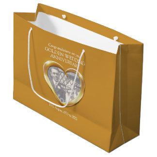 Golden wedding anniversary gift bag large gift bag