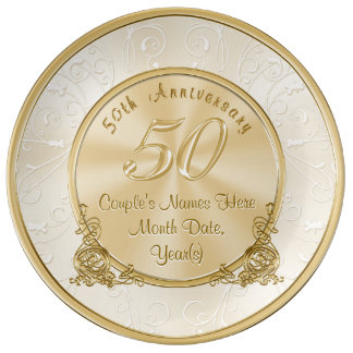 Golden Wedding Anniversary Gifts with Your Text Porcelain Plates