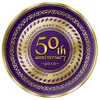 Golden Wedding Anniversary Gold Glitter Purple Plate