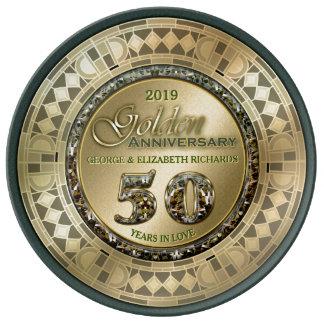 Golden Wedding Anniversary Gold Green Art Deco Plate