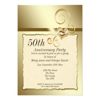 Golden Wedding Anniversary Heart Custom Invitation