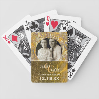 Golden Wedding Anniversary Monogram | Custom Photo Bicycle Playing Cards