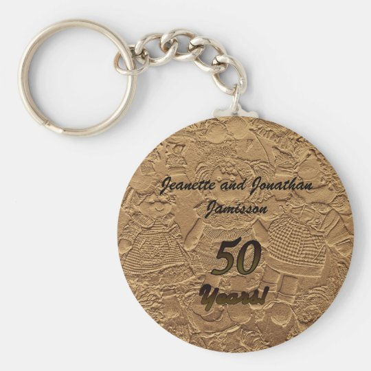 Golden Wedding Anniversary Party Favour Key Chain