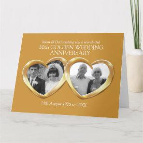 Golden wedding anniversary past present photo card