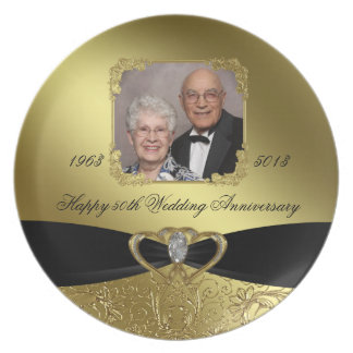 Golden Wedding Anniversary Photo Melamine Plate