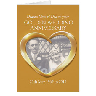 Golden wedding anniversary photo mom & dad card