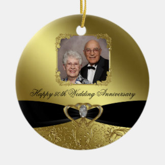 Golden Wedding Anniversary Photo Ornament
