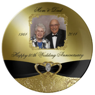Golden Wedding Anniversary Photo Porcelain Plate