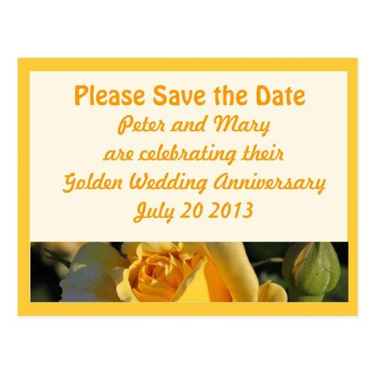 Golden Wedding Anniversary Save the Date Postcard