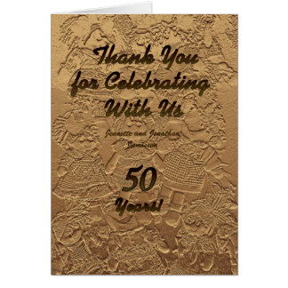 Thank You Notes For Wedding Anniversary Gifts : Golden Wedding Anniversary Thank You Note Note Card