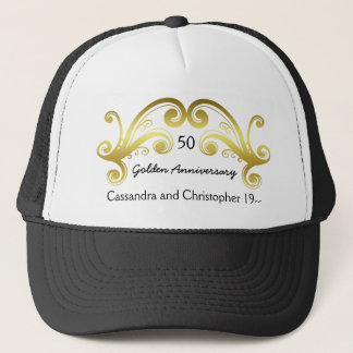 Golden wedding anniversary trucker hat