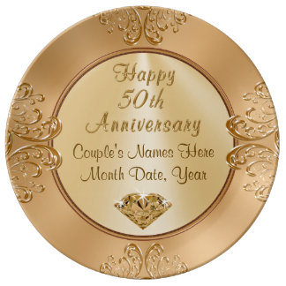 Golden Wedding Anniversay Gifts PERSONALIZED Plate
