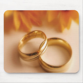Golden Wedding Bands and Sunflower Mouse Pad