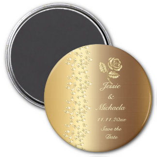 Golden Wedding Hearts and Rose  Save the Date 7.5 Cm Round Magnet