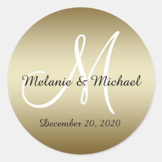 Golden Wedding Monogram Seals Stickers
