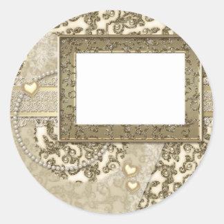 Golden Wedding or Anniversary Invitations or Notes Round Sticker