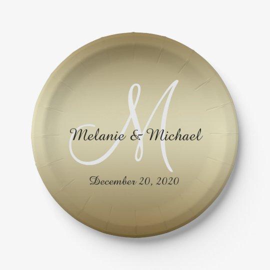 Golden Wedding Paper Plates   Monogram