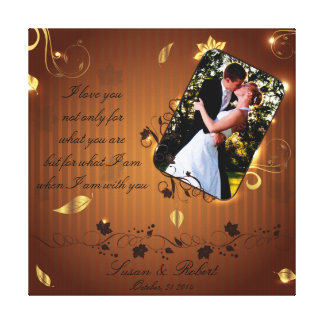 Golden wedding picture frame gallery wrap canvas