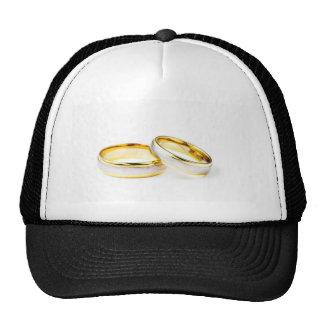 Golden Wedding Rings On White Background Mesh Hats