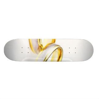 Golden Wedding Rings On White Background Skate Board Decks