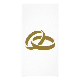 Golden wedding rings personalised photo card