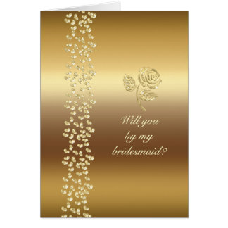 Golden Wedding roses and hearts Greeting Card