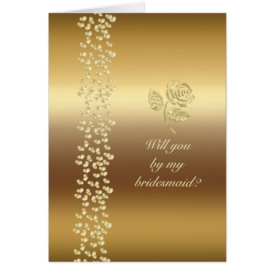 Golden Wedding roses and hearts Card
