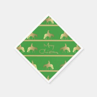 Golden Western Pleasure Horse Green Christmas Paper Napkin