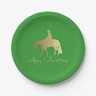 Golden Western Pleasure Horse Green Christmas Paper Plate