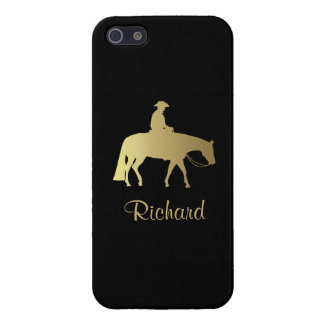 Golden Western Pleasure Horse on Black Case For The iPhone 5