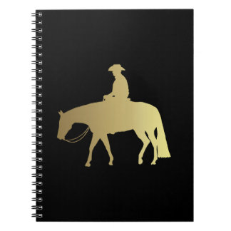Golden Western Pleasure Horse on Black Notebook