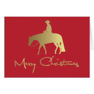 Golden Western Pleasure Horse Red Christmas Card