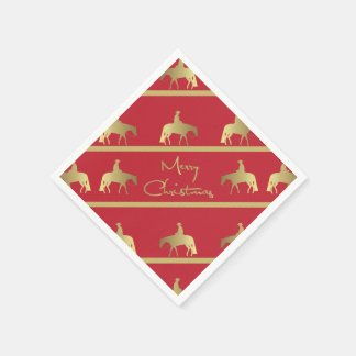 Golden Western Pleasure Horse Red Christmas Disposable Napkins