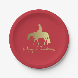 Golden Western Pleasure Horse Red Christmas Paper Plate