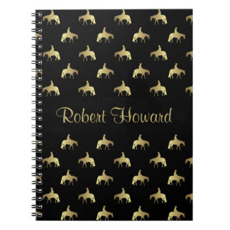 Golden Western Pleasure Horses on Black Notebook