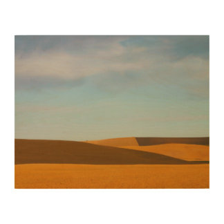 Golden Wheat Fields in Palouse Region Wood Prints