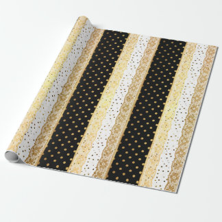 Golden White Black Lace Dots Confetti Stripes Wrapping Paper