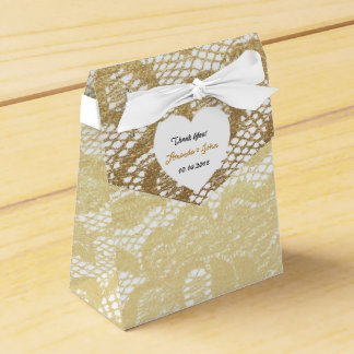 Golden White Lace Wedding Favor Thank You Favour Box