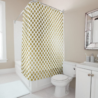 Golden White Polka Dots Chic Glam Shower Curtain