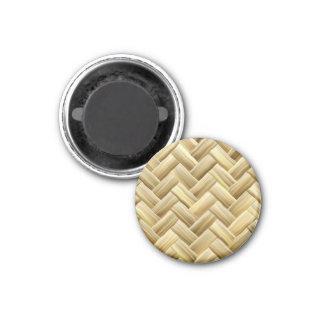 Golden Wicker Basket Weave Textured 3 Cm Round Magnet