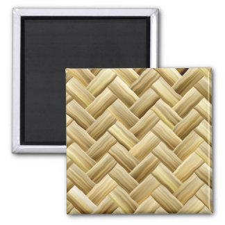 Golden Wicker Basket Weave Textured Square Magnet