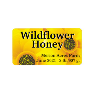 Golden Wildflower Honey Jar Label