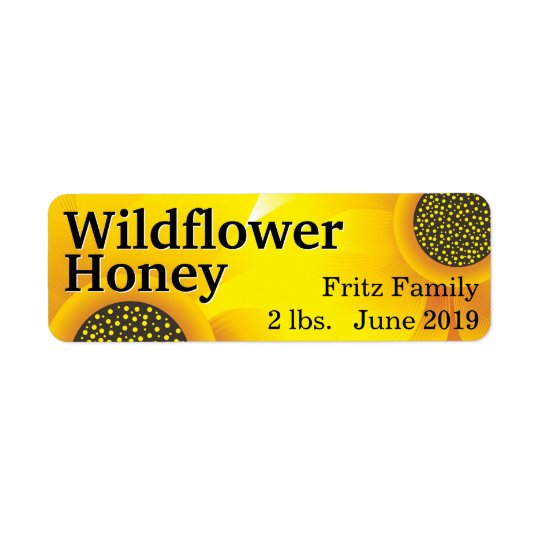 Golden Wildflower Honey Jar Return Address Label